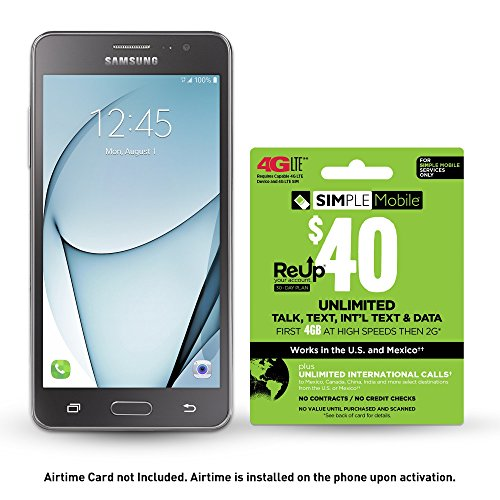 Simple Mobile Samsung Galaxy On5 4G Lte Prepaid Smartphone With Free  40 Airtime Bundle