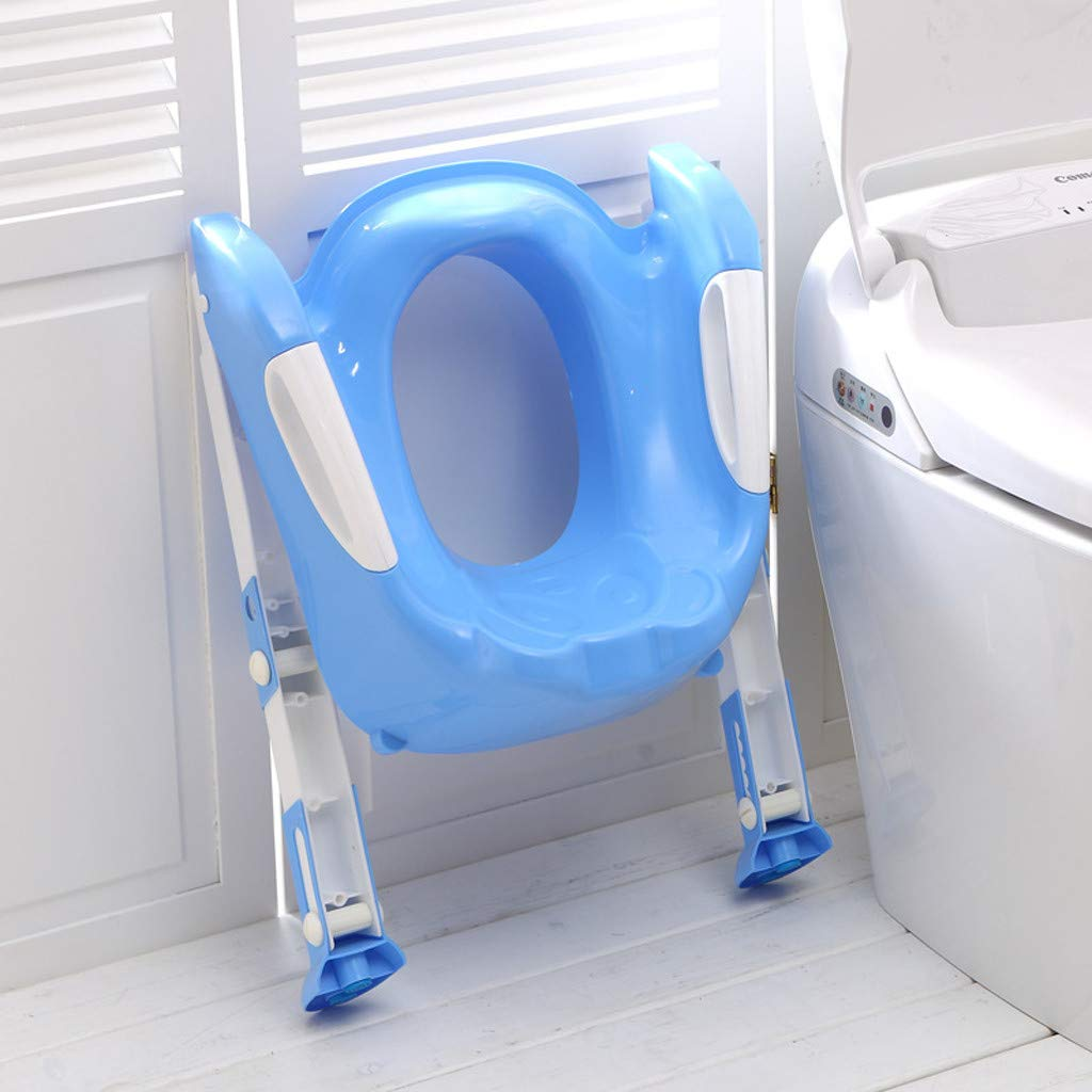 Baby Potty Toilet Training Seat by HP95, Folding Toddlers Bathroom Training Chair Cover for Toilet - Boys & Girls Toilet Training Seat Ladder with Wide Step (A, Blue) by HP95_Baby Supplies (Image #6)