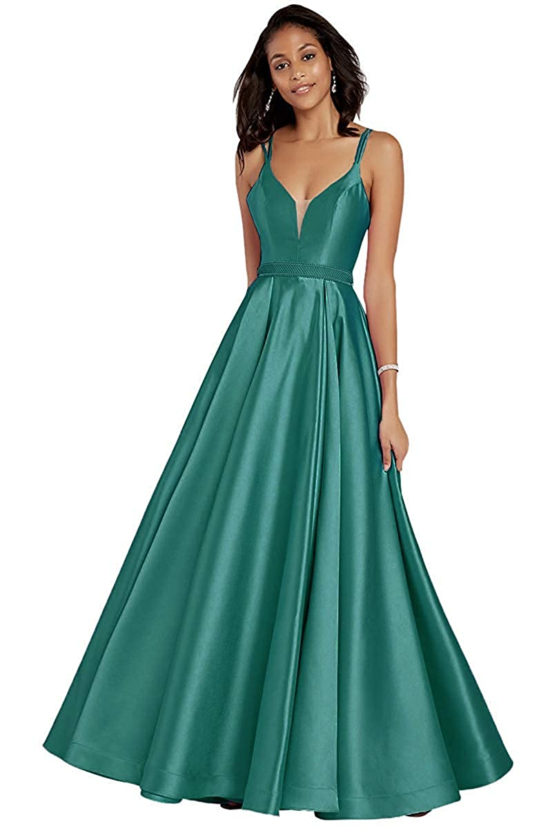 Teal V Neck Sleeveless Satin Prom Dresses Long Evening Skirt Beaded Belt with Pockets