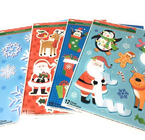 Winter Christmas Holiday Season Window Sticker Clings ~ Reindeers, Christmas Trees, Christmas Stockings, Snowman, Santa, Penguins, Candy Canes, Snowflakes, Mistle Toe ~ Pack of 4 ~ Over 40 Stickers