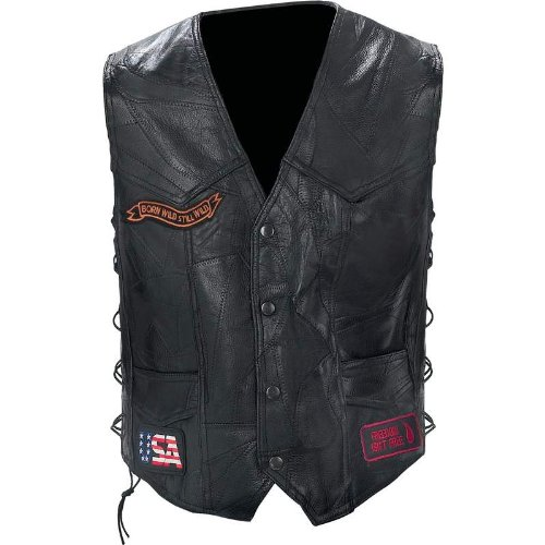 Black Diamond Plate Rock Design Genuine Buffalo Leather Biker Vest, Black, ()