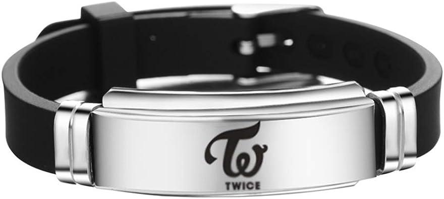 Saicowordist KPOP ITZY Personalisierte Unterschrift Schriftzug Verstellgurt Edelstahl Silikon Armband Unisex Sport Armband Hei/ßer Geschenk f/ür Fans