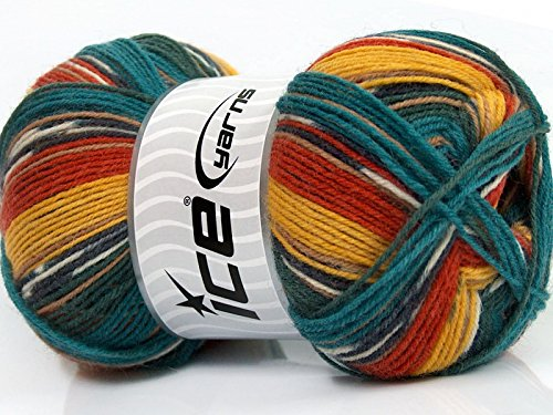 - (1) 100 Gram Super Sock, Teal Red Amber Black White Self-Patterning Machine Washable Sock Yarn