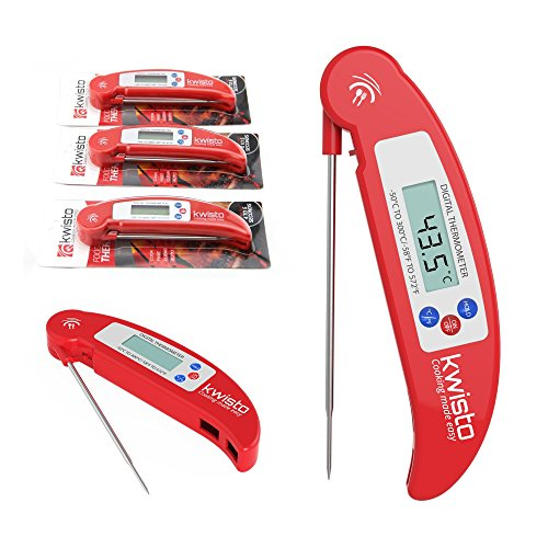 Best Instant Read Kitchen Thermometer - Digital Meat Thermometer Compact Accurate - Flexible Probe - Essential for All Food Meat BBQ Dairy Water Candy - Proven Cooking Thermometer - indoor outdoor use