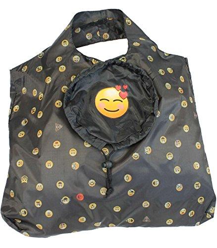 happy rain Faltshopper - Bolso de tela para mujer negro grin 47 x 48 cm hearts