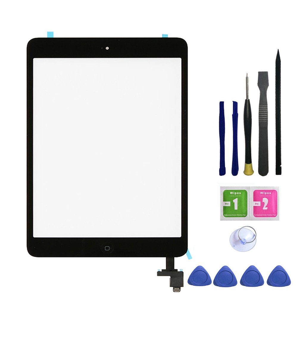 FeiyueTech iPad Mini & Mini 2 Touch Screen Digitizer Replacement Complete Assembly with IC Chip & Home Buttono & PreInstalled Adhesive and opening tool kit. (black)