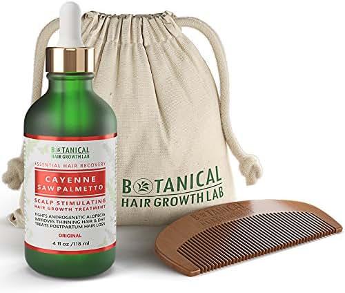 Botanical Hair Growth Lab Scalp Stimulating Treatment Cayenne - Saw Palmetto for Hair Loss and Hair Thinning Prevention DHT Blocker Postpartum Alopecia Pre-shampoo Organic Hair Growth Oil 4 Fl Oz