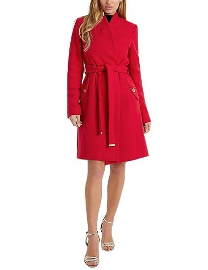 Lipsy Mujer Abrigo Largo con Cinturón Y Ajuste Estructurado Rojo EU 46 (UK 18)