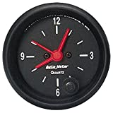 """Auto Meter 2632 Z-Series 2-1/16"""" 12 Volt Short Sweep Electric Quartz Clock"""