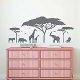 "BATTOO Safari Wall Decal- Jungle Wall Decal- Safari Nursery Decor- Animals Wall Decal Stickers Bedroom Nursery Living Room Vinyl Wall Art(dark gray, 55""WX22""H)"