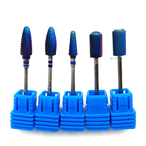 Blue Tungsten Carbide Burrs Nano Coating Nail Drill Bit Metal Bits For Manicure Electric Nail Drill Accessories 5PCS SET (Tungsten Stylus Metal)