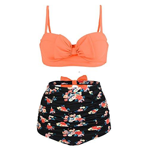 PZZ Women's Push Up Cute Bowknot Bikini High Waist Retro Flower Printing Bottom Two Pieces Swimwear Bathing Suits (2X-Large, Orange)