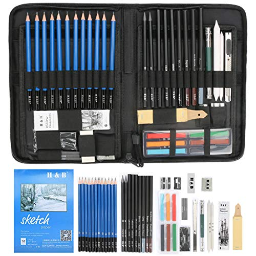 INTSUN H & B Sketching Pencils Set Drawing and Sketch Kit (48-piece), Complete Artist Kit Includes Art Supplies Graphite Drawing Pencils Charcoals, Pastels and Zippered Carry Case ()