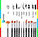 Art Paint Brush, Set 12 Pieces - Amagic Nylon