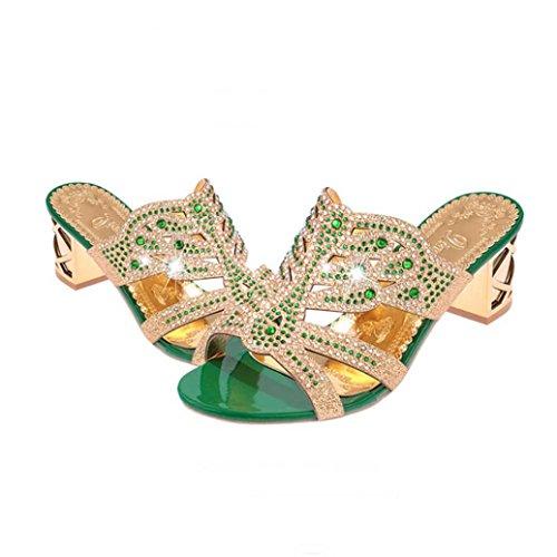 Spartiate Femme Pantoufles Tongs Bohème Vert Femmes À Strass Sandales Reef Talons Chaussures Beautyjourney Ouvertes Sandale w5Xx7I1Wq