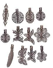 Lurrose 24PCS Vintage Hollow Out Pinzas para el cabello Flor de metal Hoja de mariposa Abrazaderas de cabello para mujeres niñas