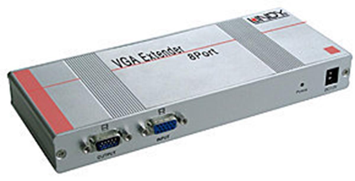 LINDY Cat5 VGA Extender and Splitter, 8 Port Transmitter (32538)
