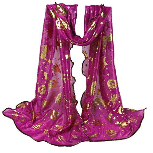 Tsmile Women Halloween Pumpkin Print Scarf Long Soft Wrap Shawl Stole Pashmina Scarves (Hot (Hot Pink Pashmina Scarf)