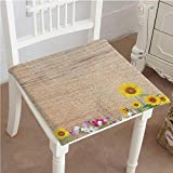Antique Wooden Folding Deck Chairs Mikihome Premium Comfort Seat Cushion Antique Old Planks American Style Western Rustic Wooden and Sunflower, Flower, Grass Cushion for Office Chair Car Seat Cushion 32