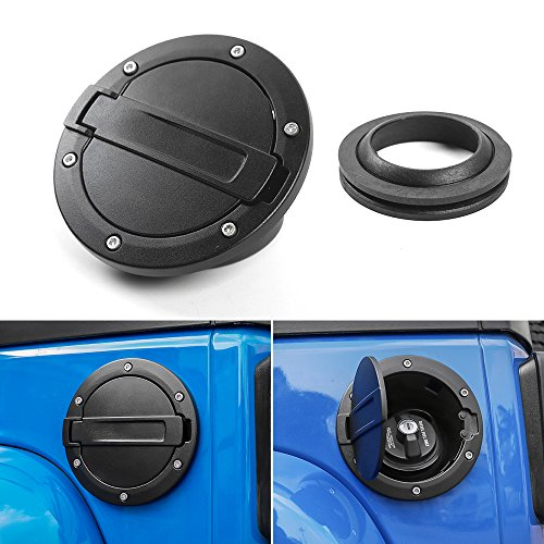 RT-TCZ Fuel Filler Door Cover Gas Cap Exterior Accessories for Jeep JK Wrangler & Unlimited 2007-2017[Black]