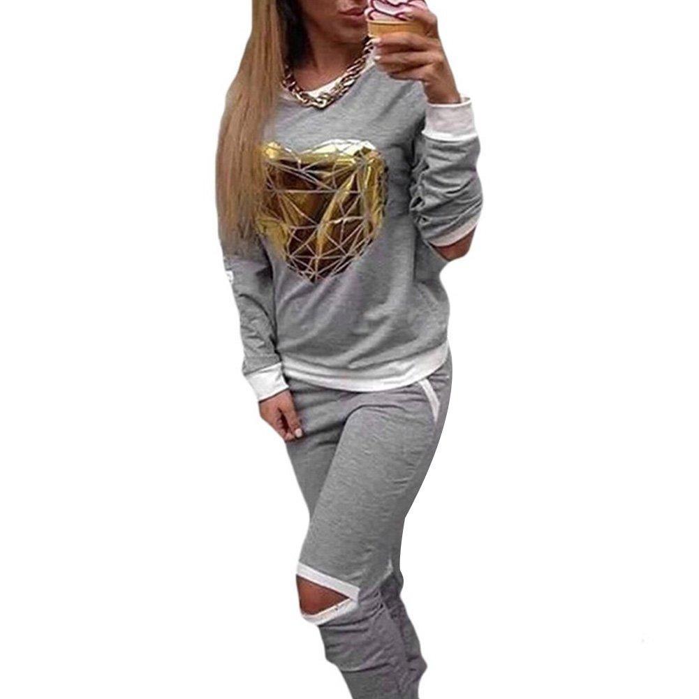 Tidecc Women's Tracksuits Jogging Suit Cut Out Printing Sweatshirt + Pants Outfits