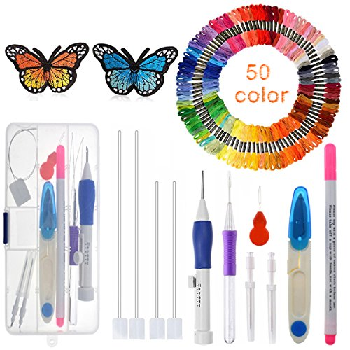 Magic Embroidery Pen, INSANY Embroidery Pen Embroidery Stitching Punch Needles Craft Tool Set Including 50 Color Threads for DIY Sewing Cross Stitching and Knitting Sewing Tool