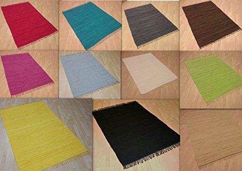 Handwebteppich Fleckerlteppich einfarbig uni 100% Baumwolle Handweb Teppich Fleckerl Waschbar NEU (Rot, ca. 40x60 cm)