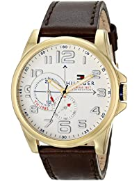 Mens 1791003 Stainless Steel Watch with Brown Leather Band
