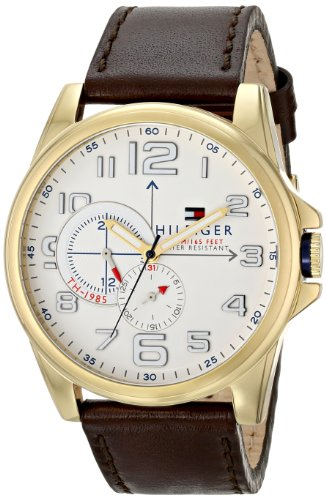 Price comparison product image Tommy Hilfiger Men's 1791003 Stainless Steel Watch with Brown Leather Band