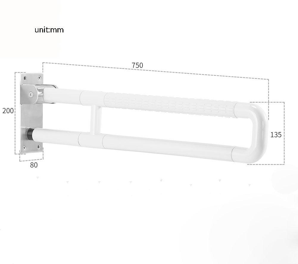 バスルーム手すりナイロンステンレススチールダブルポール折りたたみUpturningホワイト ( 設計 : A , サイズ さいず : 75 cm 75 cm ) B07CP6C6QR  A 75 cm 75 cm