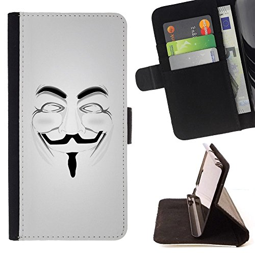 Anonymous Mask Guy Fawkes Freedom - Colorful Pattern Flip Wallet Leather Holster Holster Protective Skin Case Cover For Samsung Galaxy Note 5 5th N9200