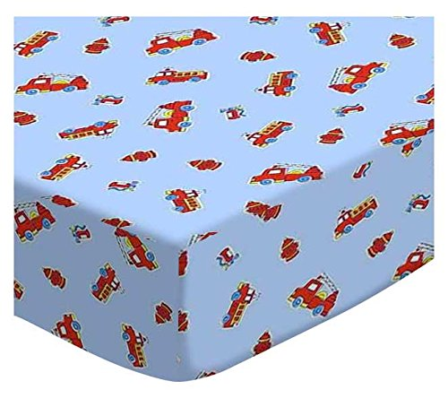SheetWorld Fitted Cradle Sheet - Fire Engines Blue - Made In USA