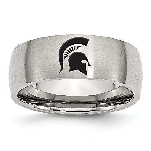 (Size 7 - Stainless Steel Michigan State University Laser Etch Ring (8mm))