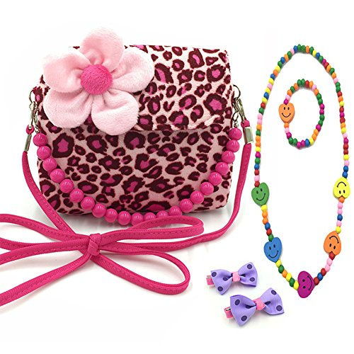Purse Handbag Girls (Aligle Little Girl Beauty Set Plush Flower Handbag + 2 Hair Clip + Necklace and Bracelet (Leopard))