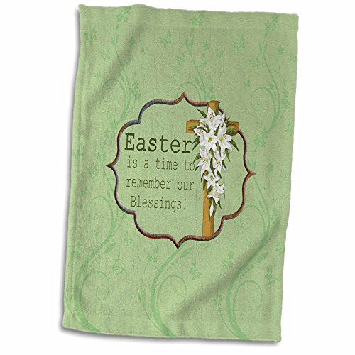 Easter Lily Vine - 3dRose Beverly Turner Easter Design and Photography - Easter is a time to remember our Blessings, Cross, Lilies, Vine Design - 15x22 Hand Towel (twl_276168_1)