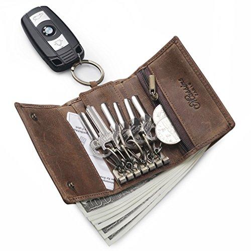 Mini Geldtasche-Schlüsseletui-Münzbörse-Braun-Damen-Herren-Leder-Schlüsseltasche im Used-Look (Braun)