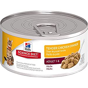 Hill's Science Diet Adult Wet Cat Food, Tender Chicken Dinner Chunks & Gravy Canned Cat Food, 5.5 oz, 24 Pack