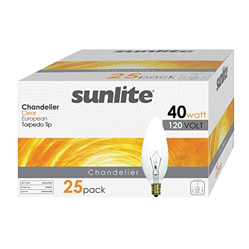 Sunlite 40CTC/32/E14/25PK 40W Incandescent Torpedo Tip Chandelier with Crystal Clear Light Bulb and European E14 Base (25 Pack)