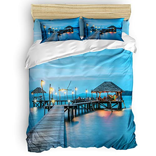 (Duvet Cover Luxury Bedding Set 4 Piece Print with Zipper Closure Ultra Soft Breathable(1 Duvet Cover + 2 Pillow Shams),Thailand Resort Pier King)