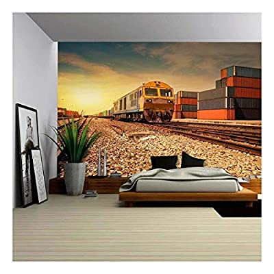 Cargo Train Platform at Sunset with Container - Removable Wall Mural | Self-Adhesive Large Wallpaper - 66x96 inches
