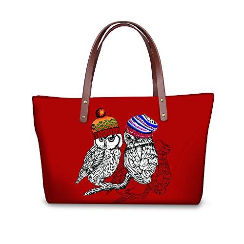 Couple Owl Print Shoulder Bags Red Handbag Top Handle Totes Waterproof Beach Bag by Dreamkai