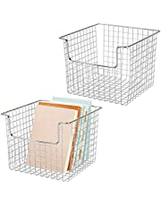 mDesign Juego de 2 cestas de almacenaje de alambre para el armario o el estante – Práctica caja de almacenamiento para cocina, baño u oficina – Cesta metálica abierta – plateado