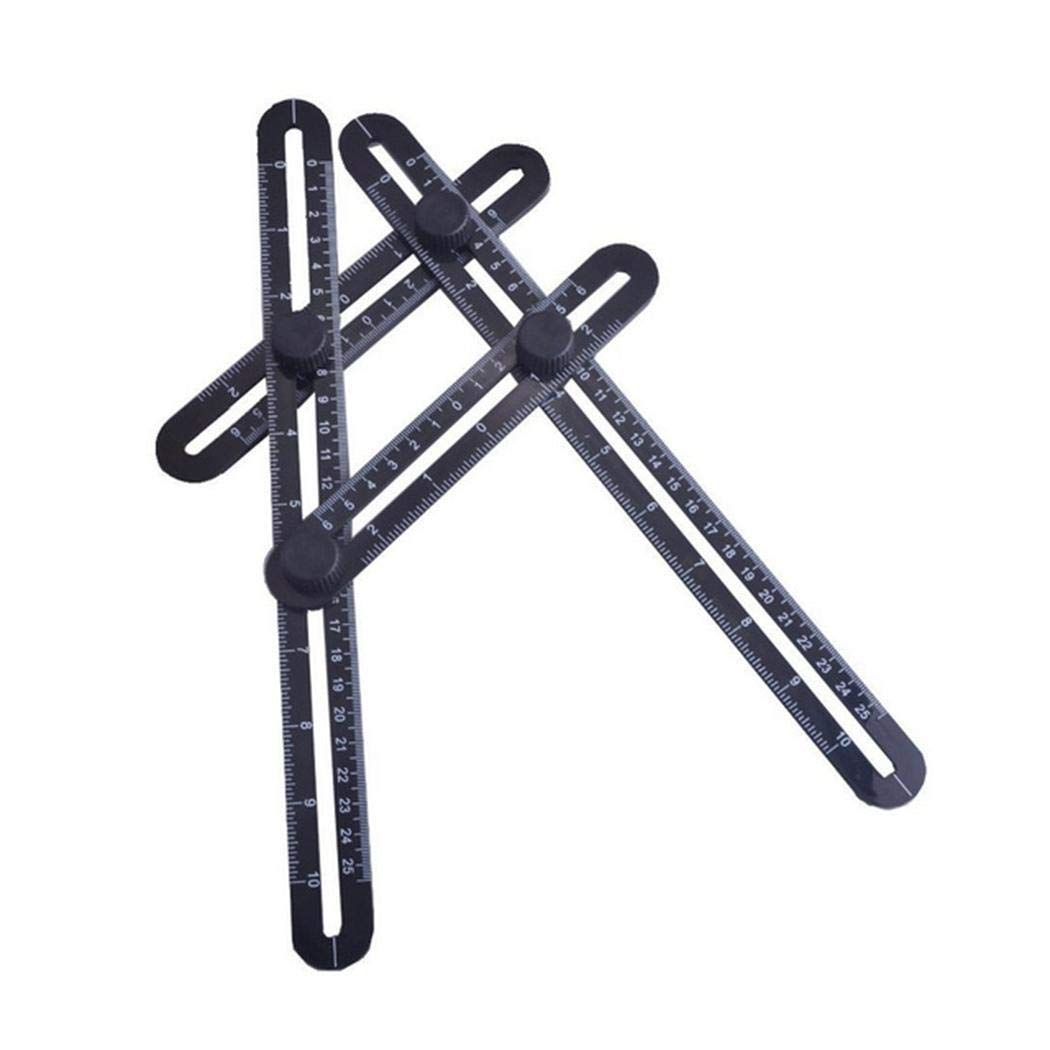 Sholdnut Four Folding Plastic Ruler Multi-Angle Measuring Tool Rulers & Tape Measures (Black)