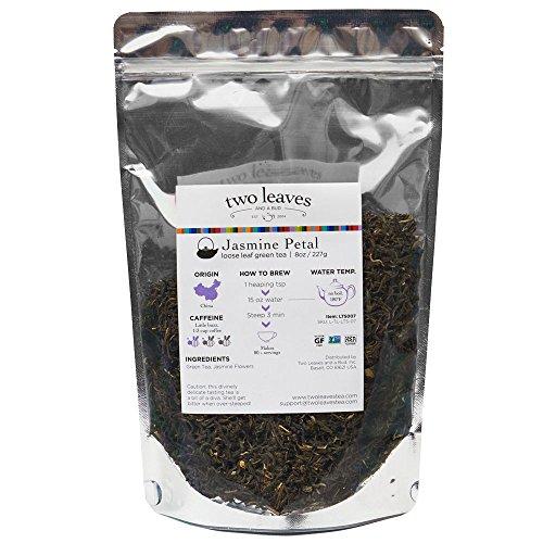 (Two Leaves and a Bud Jasmine Petal Green Loose Leaf Tea, 8 Ounce Resealable Pouch Organic Whole Leaf Moderate Caffeine Green Tea with Jasmine Flowers, Loose Leaf Tea)