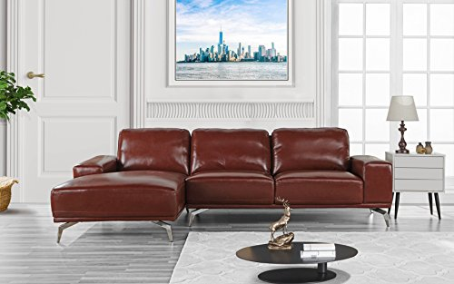 (Divano Roma Furniture - Modern Real Leather Sectional Sofa, L-Shape Couch w/Chaise on Left (Light Brown))