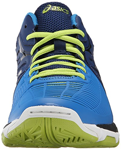 Asics Gel-Netburner Ballistic MT–Los Hombres De Voleibol zapatos Navy-Silver-Electric Blue