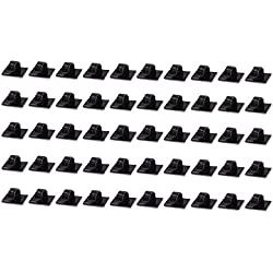 Car Cable Clip, Teenitor® Car Charger Mounts Cable Tie Holder, Car Cable Organizer, Desk Wall Cable Wire Clips, Computer, Electrical, Cord Cable Tie Drop (Black, 50 Pieces)