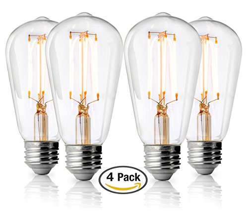 Linea Led (40 Watt Equivalent Clear Dimmable LED Bulbs - 4 pack - ST19 Edison 4W, LL-BST19-4W-CLR-4)