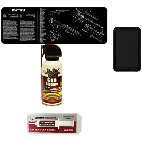 Gunsmith & Armorer's Cleaning Tool Bench Gun Mat For The M14 M1A Rifle + Pro Armorer's Gun Cleaner Lubricant Spray + Extreme Gun Grease + Magnetic Parts Tray by Ultimate Arms Gear