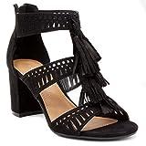 Rampage Ruby Tasselled Open Toe Dress Shoe Heeled Sandal 7.5 Black